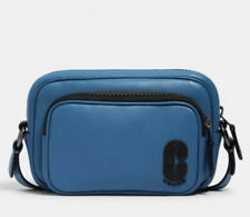 COACH Mini Edge Double Pouch Crossbody With Coach Patch IN Bluejay UNISEX