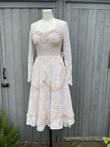 Vintage 1950s Sugar Pink & White Lace Dress Ball Wedding Party Prom