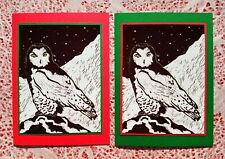 New listing 5 Handmade Snowy Owl Christmas Cards Block Print Linocut Birds Holiday Card Set