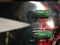SALE- PAIR OF SUPER T10 4 GREEN LED BULB -PARKER/NUMBER PLATE LIGHT BULBS
