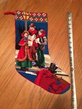 Vintage Completed Needlepoint Christmas Stocking 16""
