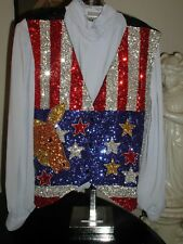Usa Flag Sequin Vest Democrat Dfl Donkey Political President Election Campaign