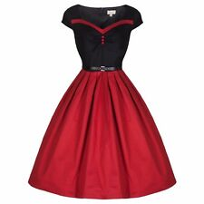LINDY BOP RITA INCANTEVOLE Rockabilly anni'50 ispirato Pinup ROSSO & NERO SWEETHEART 8