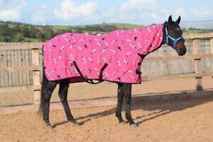 Fleece Breathable Cooler 250g Moist Anti Sweat Fleece Rug Pink Horse 5'3 - 7'0