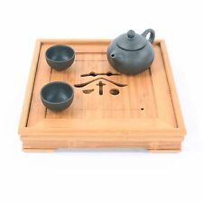 New Bamboo Gongfu Tea Tray Chinese Serving Table 23*23*4.5cm Mini Size Quality