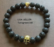 (2) Lava Stone Beads Skull  Mens Womens Bracelet STRETCHY ADJUSTABLE