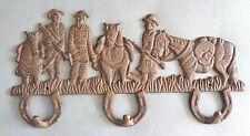 3 HORSESHOE WALL HOOKS  - RUSTIC IRON CIVIL WAR SOLDIERS  & HORSES RARE  EUC