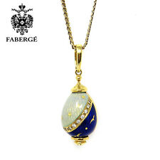 NYJEWEL Faberge 18K Gold Limited Edition Enamel Diamonds Egg Pendant Necklace