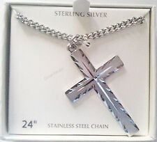 "Men's Sterling Silver Cross Cut Pendant With 24"" Necklace Chain-FREE SHIPPING"