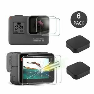 6Pcs Tempered Glass Screen Protector Lens Cap Cover For GoPro Hero 7 6 5 Black