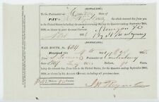1838 Canterybury New York NY Postmaster Receipt Post Office Money Due to US x2