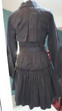 Anthropologie MANOUSH Black Belted Trench Coat Ruffled US Sz 8 RARE!
