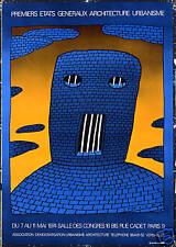 Original Vintage Poster Folon Urban Architecture Jail French 1974 Surreal Blue