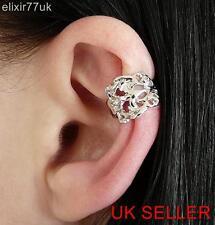 UK NEW SILVER FLOWER EAR CUFF CLIP-ON WRAP CARTILAGE EMO PUNK GOTH VINTAGE CHIC