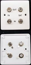 AV Wall Plate, 2 x TV Aerial / RF and 2 x Satellite F-connector Sockets (female)