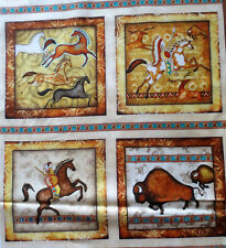 Quilting Treasures Southwest Soul Cream Kokopelli Blocks Panel Cotton Fabric
