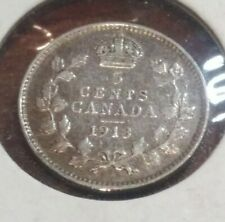 Canada King George V Silver 5 Cents 1913 Good details