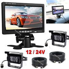 """Truck RV Trailer HD Reversing Rear View Cameras Kit 7"""" Monitor +2 Backup Camera"""