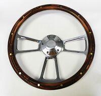 "Galaxie Torino Maverick LTD Mahogany w/rivets & Billet Spokes Steering Wheel 14"""