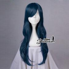 7AU Dark Blue Long Wavy Party Women Basic Synthetic Hair Cosplay Wig+Free Cap