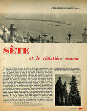 SETE & LE CIMETIERE MARIN ARTICLE DE PRESSE DE PIERRE AURADON 1957