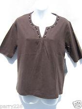 Kiara Women's Brown V-Neck ½ Sleeve Beaded V-Neck T-Shirt Size Small NWT