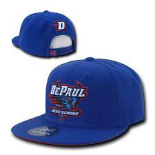 NCAA DePaul University Blue Demons 6 Panel Snapback Baseball Caps Hats Blue