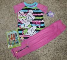 NWT $40-Girls Disney 7 Pc Fairy TinkerBell Striped 2 Pc Pajamas & Makeup-sz 4/6