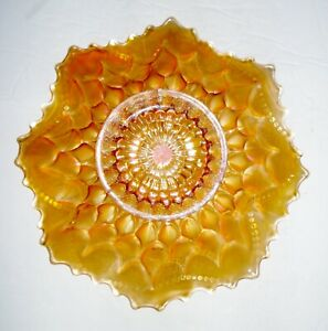 VINTAGE USA MARIGOLD CARNIVAL GLASS BOWL BEAUTIFUL DESIGN NR