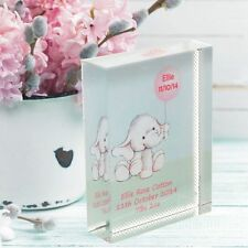 Elephant and Balloon Crystal - Special Personalised New Baby Girl or Boy