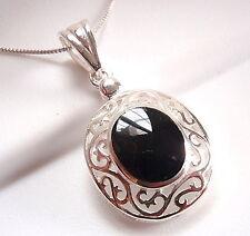 Black Onyx Filigree Pendant 925 Sterling Silver Corona Sun Jewelry