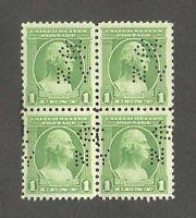 1 One Cent Block of 4 Stamps 1932 Washington Bicentennial SC 705 Rare w/ Holes