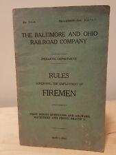 1942 Old Baltimore Ohio B&O Railroad Co Firemen Rules Regulations Q&A Book