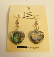 Earrings- heart shaped shell-abalone- blues green  silver toned -french wire