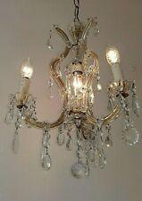Lampadario antico cristallo Maria Teresa a cesta 4 luci Old Chandelier Lustre