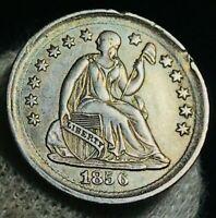 1856 Seated Liberty Half Dime 5C High Grade XF AU Details US Silver Coin CC2499