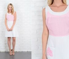 Vintage 60s Pink + White Mod Dress Geo Plaid Gingham Mini Floral Embroidered S M