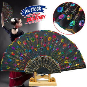 Peacock Hand Fan Folding Embroidered Wedding Pattern Sequin for Dance Party