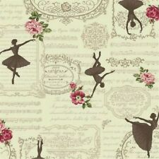Ruru Bouquet Prima French Classical Opera Ballet Cream Cotton Fabric Fat Quarter