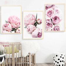 Minimalist Posters Art Prints Pink Peony Flower Kids Room Decor Canvas Painting