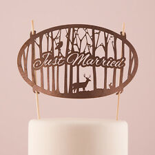 Just Married Woodland Wood Veneer Wedding Cake Topper Nature Animals Reception