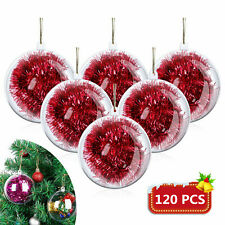 120PCS Clear Plastic Christmas Balls Baubles Sphere Fillable Xmas Tree Ornament