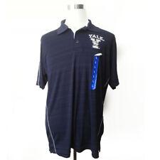 Yale University Bulldogs Men Polo Shirt Size L Navy Blue Stripes Champion Elite