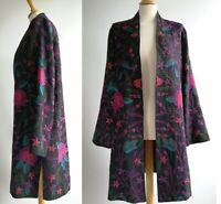 EAST Black 100% Wool Coat Jacket Oversized Cornely Tapestry Size S M UK 8 10 12