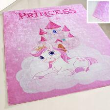 Waschbarer Kinderzimmer Teppich bei 30°C rutschhemmend in Rosa Prinzessin