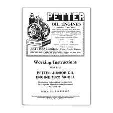 Stationary Engine Booklet - Working Instructions Petter Junior Oil Engine 1922