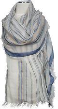 Streifen Schal Baumwolle gestreift Hellblau Beige scarf écharpe cotton stripe