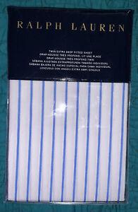 Ralph Lauren Prescott Stripe TWIN Extra Deep Fitted Sheet Blue/ White New