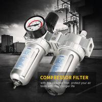 """1/2"""" Filtre Compresseur D'air Humidité Eau Huile Détendeur Régulateur Jauge"""