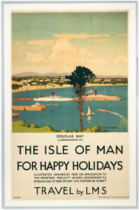 Vintage Happy Holidays - The Isle of Man Railway Travel Poster A1/A2/A3/A4